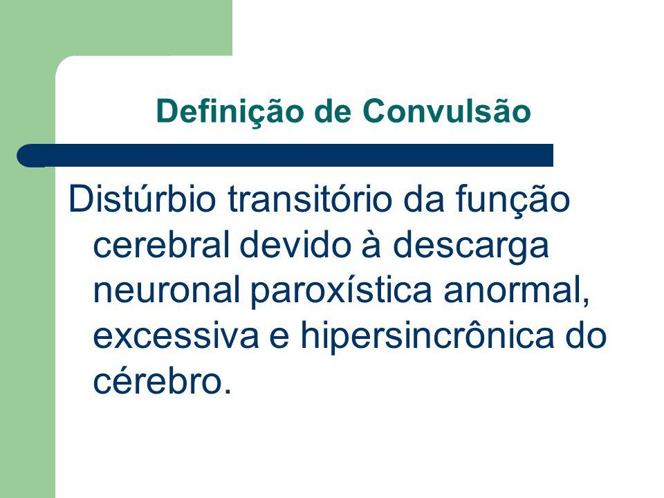 Definição de Convulsão Distúrbio transitório da função cerebral devido à descarga neuronal paroxística anormal, excessiva e hipersincrônica do cérebro