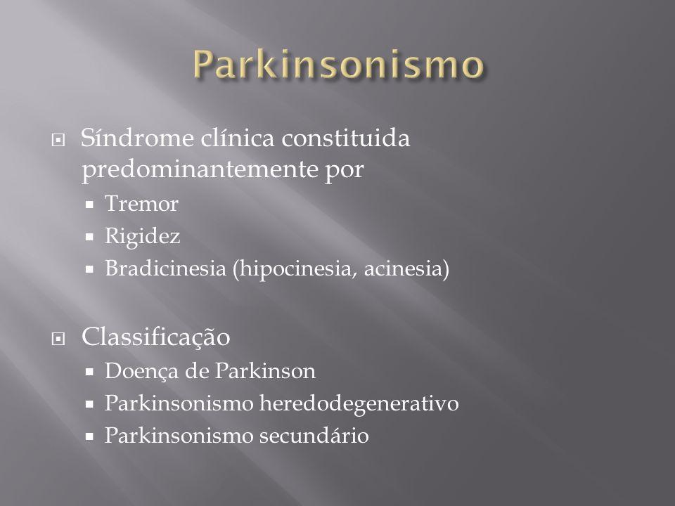 Síndrome clínica constituida predominantemente por Tremor Rigidez Bradicinesia (hipocinesia, acinesia) Classificação Doença de Parkinson Parkinsonismo