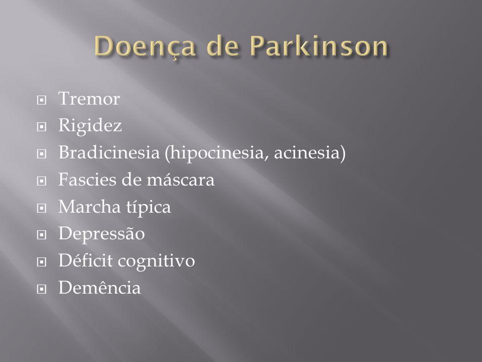 Tremor Rigidez Bradicinesia (hipocinesia, acinesia) Fascies de máscara Marcha típica Depressão Déficit cognitivo Demência