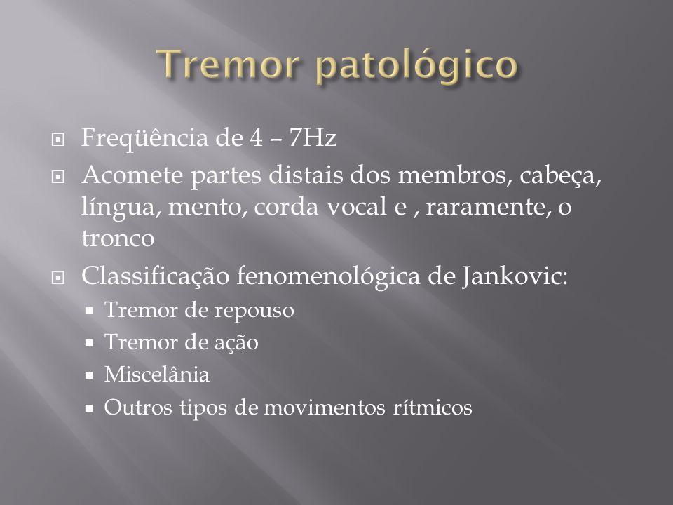 Tremor de Parkinsonismo: Determinado por atividade alternante de músculos agonistas e antagonistas Freqüência de 3 – 6Hz Mais notado em uma ou ambas as mãos (adução- abdução do polegar – enrolar fumo) Tremor essencial severo Ocorre na exacerbação do tremor essencial (de ação) Ocorre aumento da amplitude dos movimentos