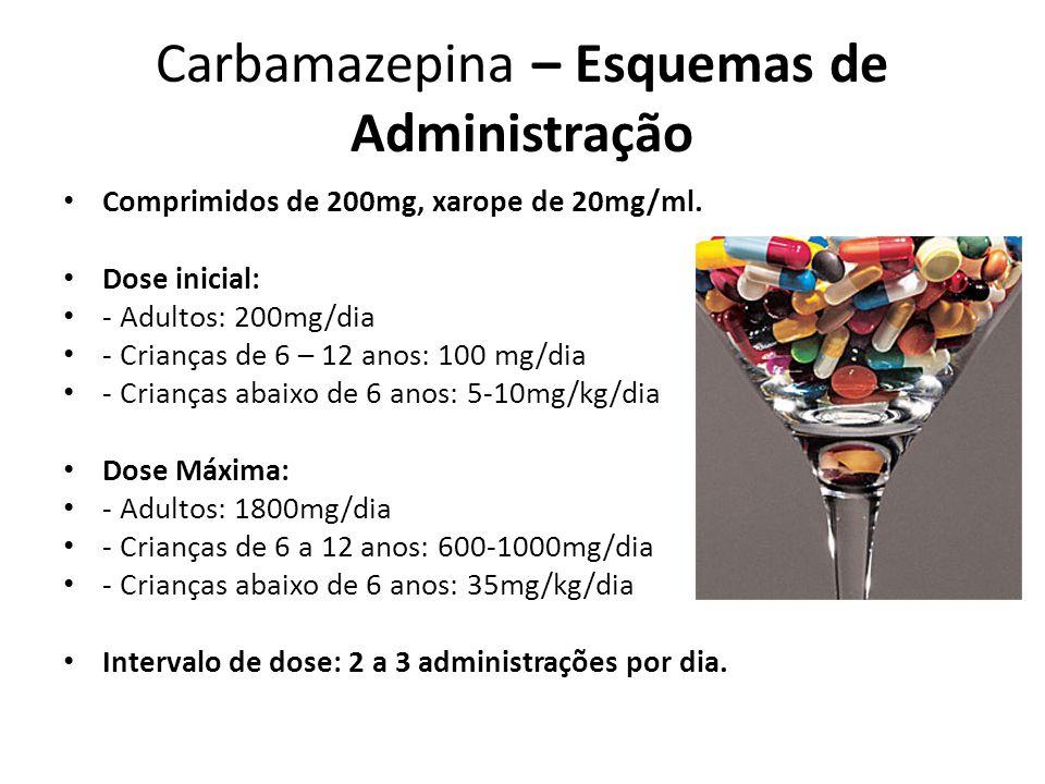Carbamazepina – Esquemas de Administração Comprimidos de 200mg, xarope de 20mg/ml. Dose inicial: - Adultos: 200mg/dia - Crianças de 6 – 12 anos: 100 m