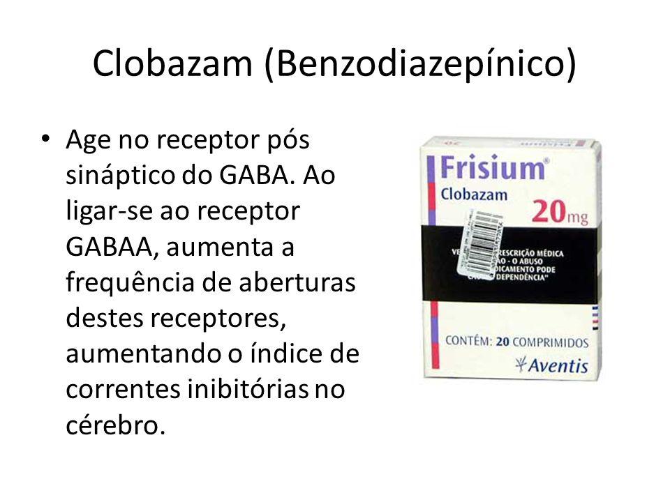 Clobazam (Benzodiazepínico) Age no receptor pós sináptico do GABA. Ao ligar-se ao receptor GABAA, aumenta a frequência de aberturas destes receptores,