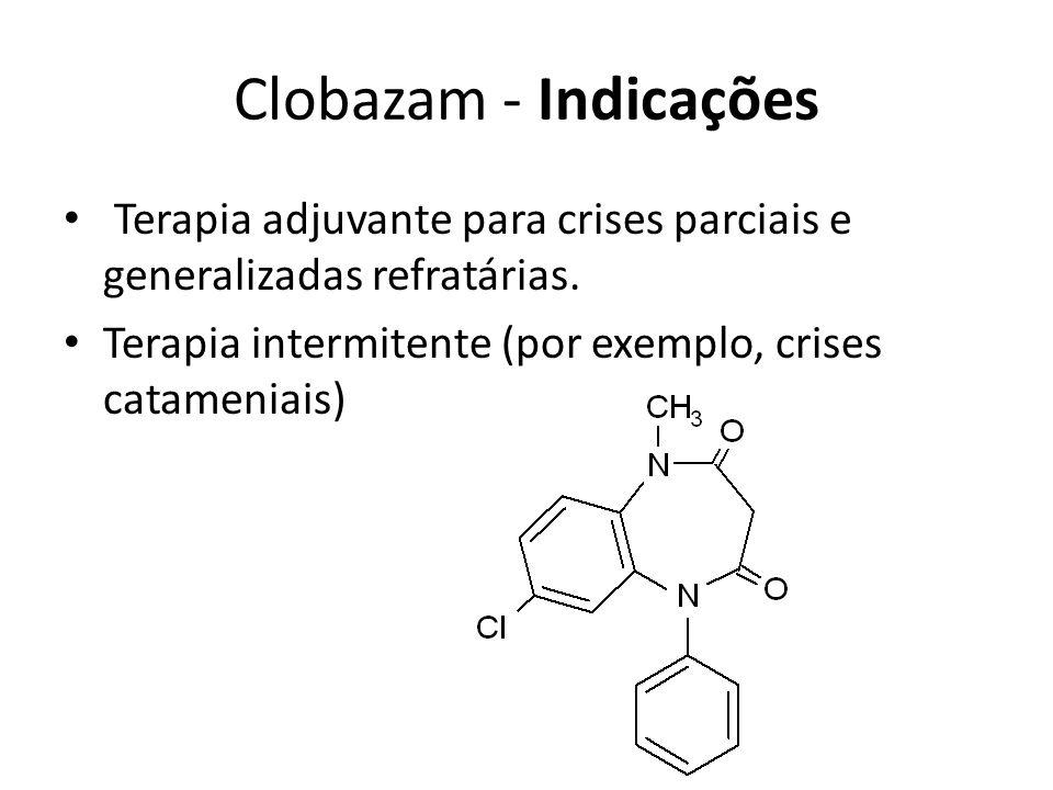 Clobazam - Indicações Terapia adjuvante para crises parciais e generalizadas refratárias. Terapia intermitente (por exemplo, crises catameniais)