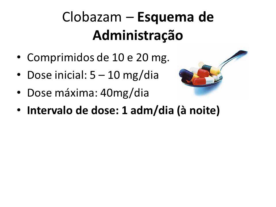 Clobazam – Esquema de Administração Comprimidos de 10 e 20 mg. Dose inicial: 5 – 10 mg/dia Dose máxima: 40mg/dia Intervalo de dose: 1 adm/dia (à noite