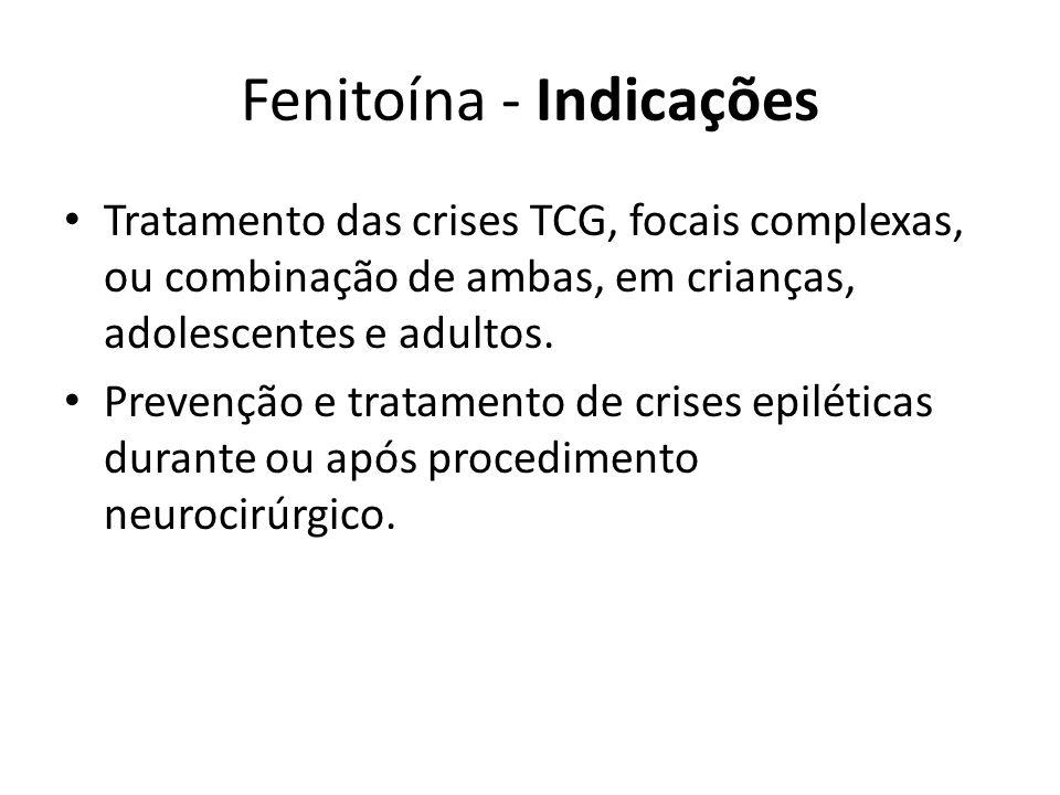 Fenitoína - Indicações Tratamento das crises TCG, focais complexas, ou combinação de ambas, em crianças, adolescentes e adultos. Prevenção e tratament