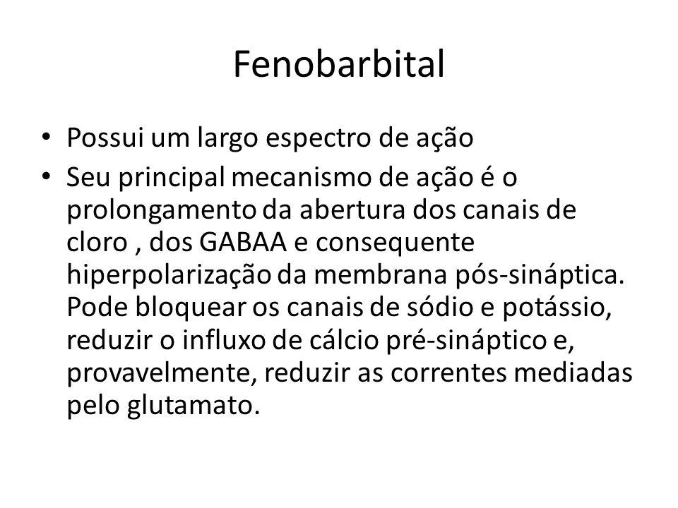 Fenobarbital Possui um largo espectro de ação Seu principal mecanismo de ação é o prolongamento da abertura dos canais de cloro, dos GABAA e consequen