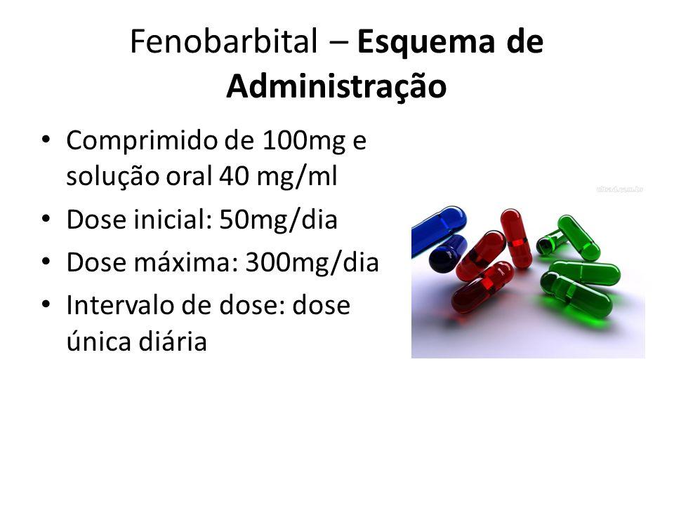 Fenobarbital – Esquema de Administração Comprimido de 100mg e solução oral 40 mg/ml Dose inicial: 50mg/dia Dose máxima: 300mg/dia Intervalo de dose: d
