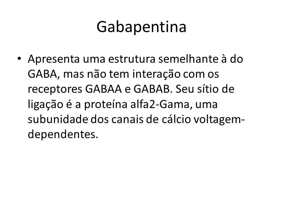 Gabapentina Apresenta uma estrutura semelhante à do GABA, mas não tem interação com os receptores GABAA e GABAB. Seu sítio de ligação é a proteína alf