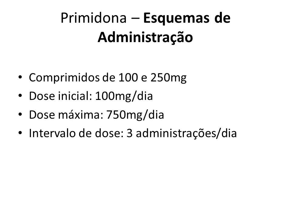 Primidona – Esquemas de Administração Comprimidos de 100 e 250mg Dose inicial: 100mg/dia Dose máxima: 750mg/dia Intervalo de dose: 3 administrações/di
