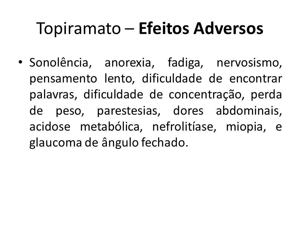 Topiramato – Efeitos Adversos Sonolência, anorexia, fadiga, nervosismo, pensamento lento, dificuldade de encontrar palavras, dificuldade de concentraç
