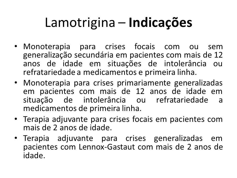 Lamotrigina – Indicações Monoterapia para crises focais com ou sem generalização secundária em pacientes com mais de 12 anos de idade em situações de