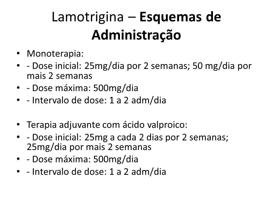 Lamotrigina – Esquemas de Administração Monoterapia: - Dose inicial: 25mg/dia por 2 semanas; 50 mg/dia por mais 2 semanas - Dose máxima: 500mg/dia - I