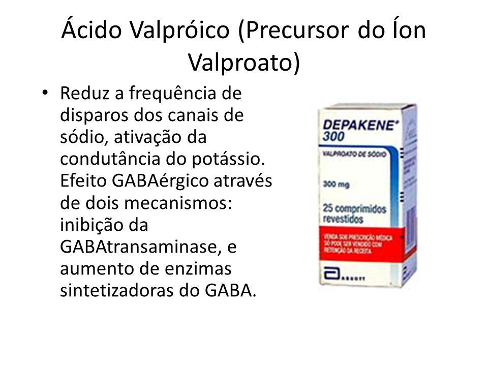 Ácido Valpróico (Precursor do Íon Valproato) Reduz a frequência de disparos dos canais de sódio, ativação da condutância do potássio. Efeito GABAérgic