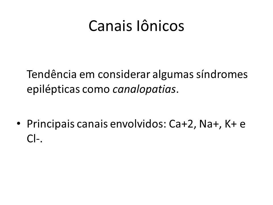 Canais Iônicos Tendência em considerar algumas síndromes epilépticas como canalopatias. Principais canais envolvidos: Ca+2, Na+, K+ e Cl-.
