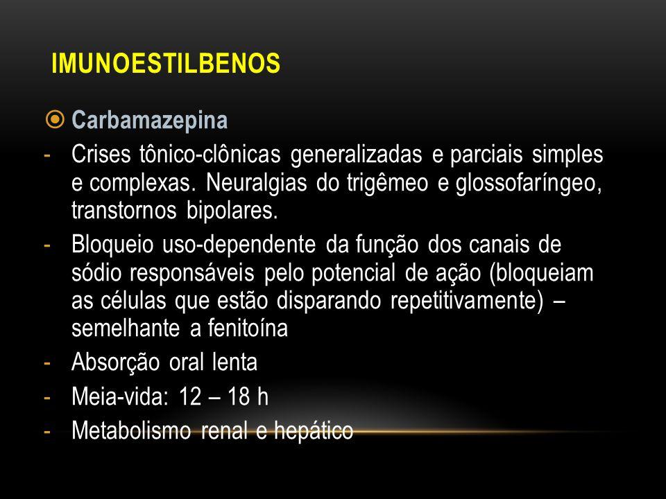 IMUNOESTILBENOS Carbamazepina -Crises tônico-clônicas generalizadas e parciais simples e complexas. Neuralgias do trigêmeo e glossofaríngeo, transtorn