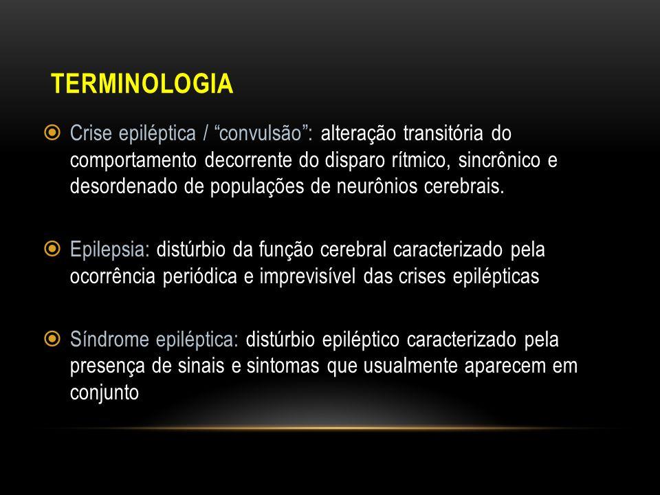 TERMINOLOGIA Crise epiléptica / convulsão: alteração transitória do comportamento decorrente do disparo rítmico, sincrônico e desordenado de populaçõe
