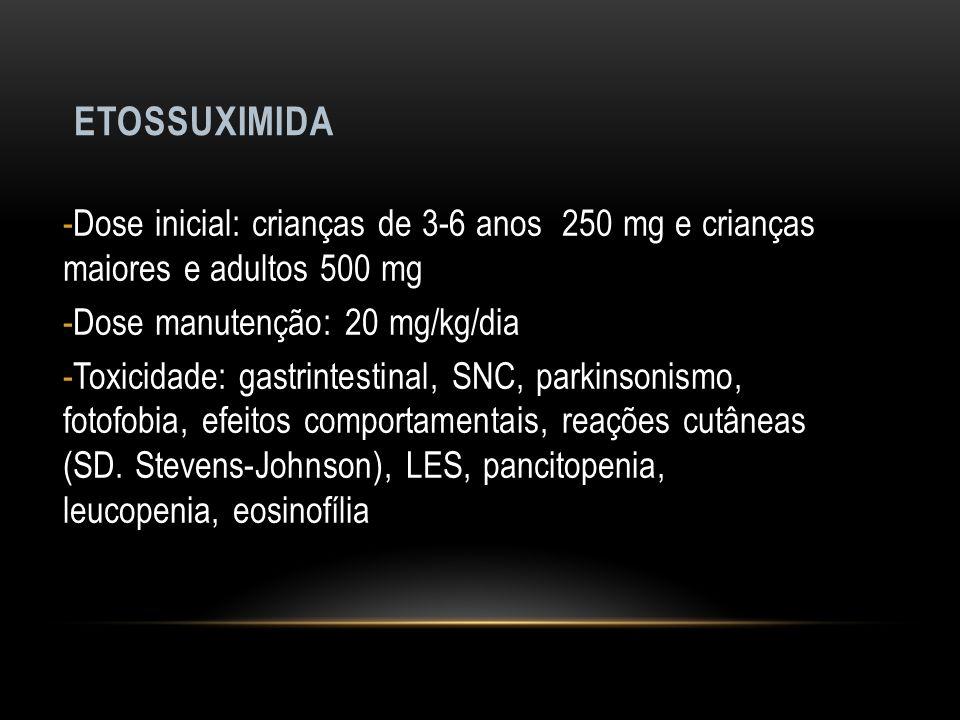 ETOSSUXIMIDA -Dose inicial: crianças de 3-6 anos 250 mg e crianças maiores e adultos 500 mg -Dose manutenção: 20 mg/kg/dia -Toxicidade: gastrintestina