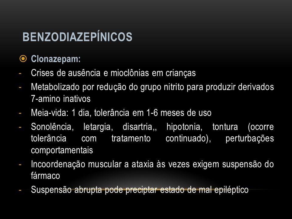 BENZODIAZEPÍNICOS Clonazepam: -Crises de ausência e mioclônias em crianças -Metabolizado por redução do grupo nitrito para produzir derivados 7-amino