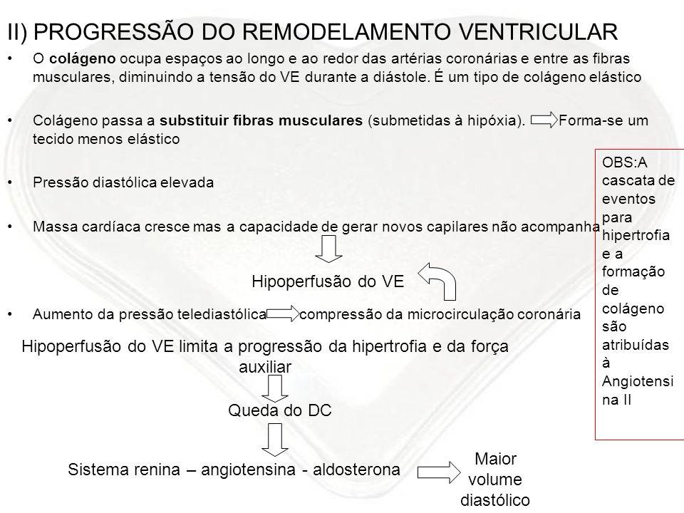 II) PROGRESSÃO DO REMODELAMENTO VENTRICULAR O colágeno ocupa espaços ao longo e ao redor das artérias coronárias e entre as fibras musculares, diminui