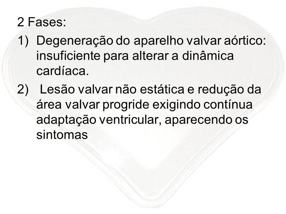 2 Fases: 1)Degeneração do aparelho valvar aórtico: insuficiente para alterar a dinâmica cardíaca. 2) Lesão valvar não estática e redução da área valva
