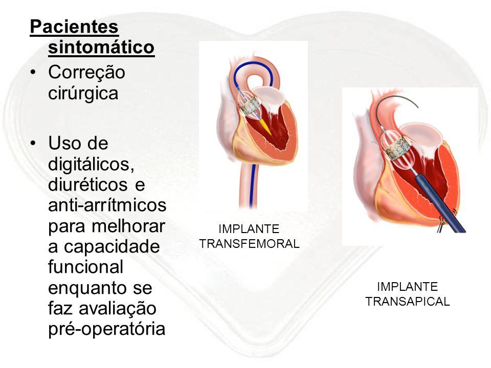 Pacientes sintomático Correção cirúrgica Uso de digitálicos, diuréticos e anti-arrítmicos para melhorar a capacidade funcional enquanto se faz avaliaç