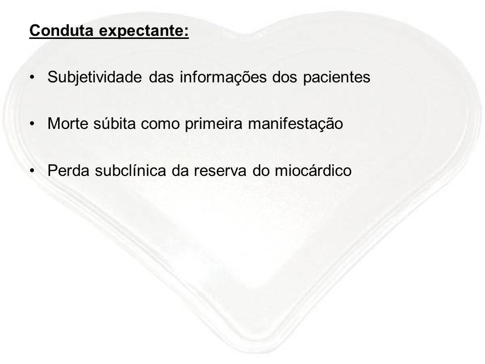 Conduta expectante: Subjetividade das informações dos pacientes Morte súbita como primeira manifestação Perda subclínica da reserva do miocárdico