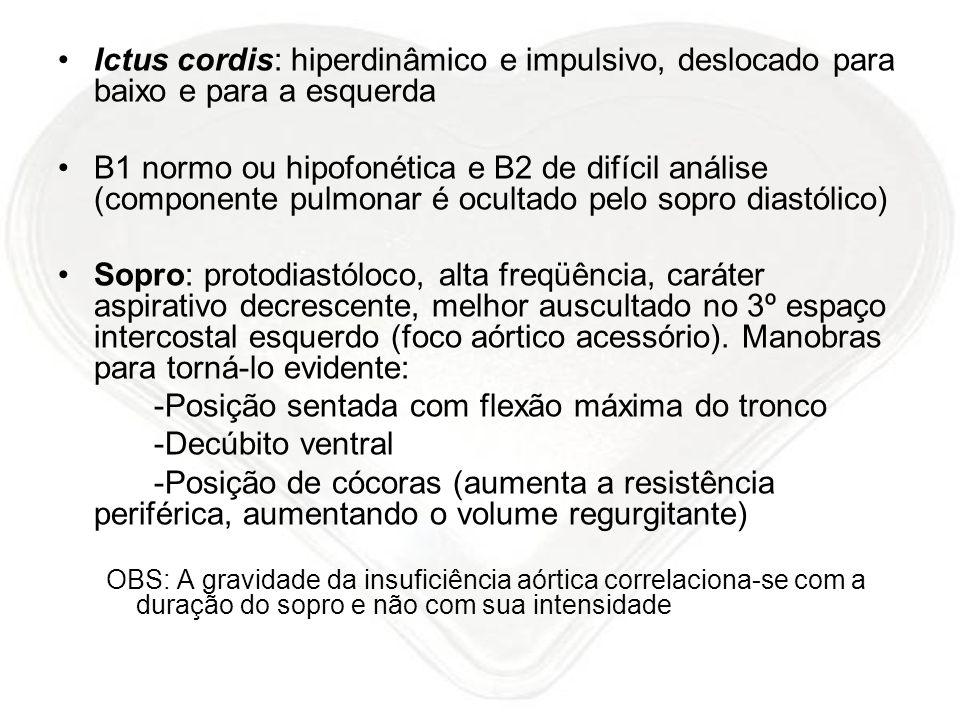 Ictus cordis: hiperdinâmico e impulsivo, deslocado para baixo e para a esquerda B1 normo ou hipofonética e B2 de difícil análise (componente pulmonar