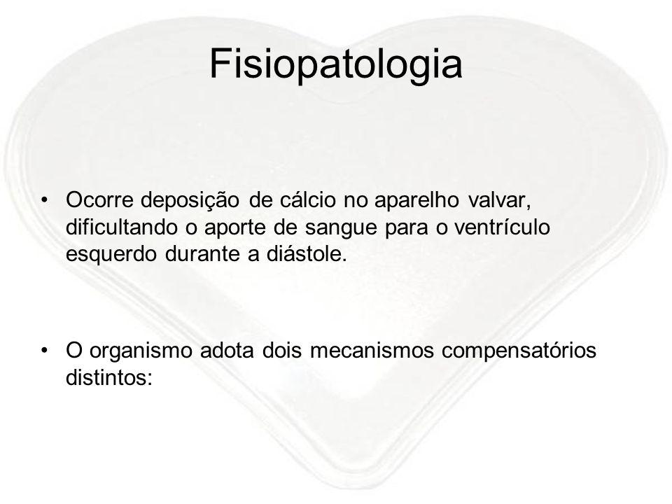 Fisiopatologia Ocorre deposição de cálcio no aparelho valvar, dificultando o aporte de sangue para o ventrículo esquerdo durante a diástole. O organis