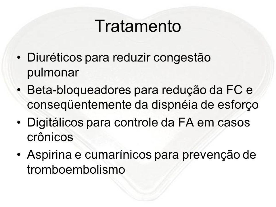 Tratamento Diuréticos para reduzir congestão pulmonar Beta-bloqueadores para redução da FC e conseqüentemente da dispnéia de esforço Digitálicos para