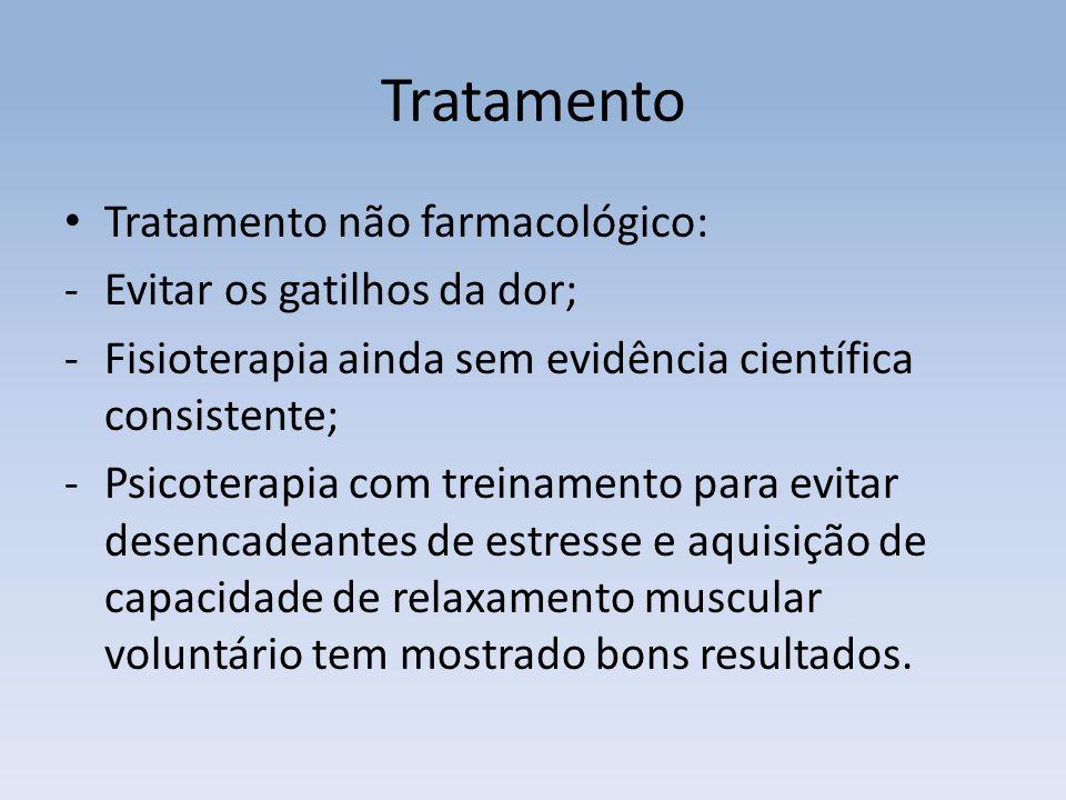 Tratamento Tratamento não farmacológico: -Evitar os gatilhos da dor; -Fisioterapia ainda sem evidência científica consistente; -Psicoterapia com trein