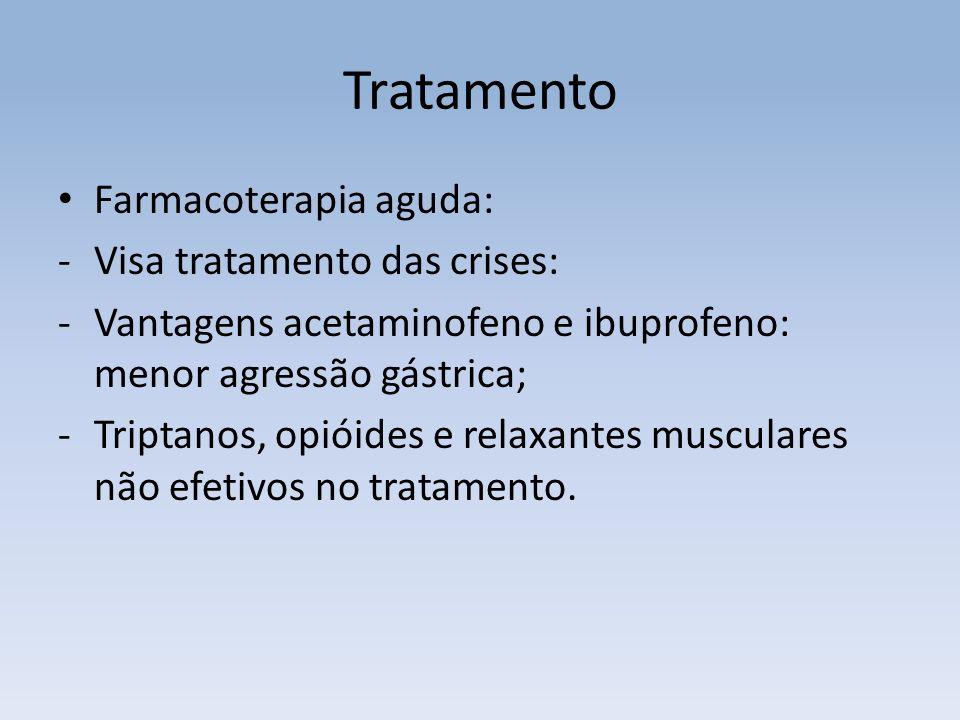 Tratamento Farmacoterapia aguda: -Visa tratamento das crises: -Vantagens acetaminofeno e ibuprofeno: menor agressão gástrica; -Triptanos, opióides e relaxantes musculares não efetivos no tratamento.