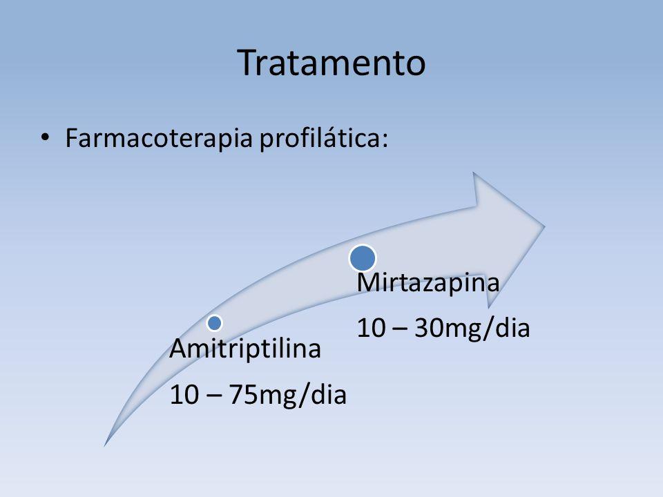 Tratamento Farmacoterapia profilática: Amitriptilina 10 – 75mg/dia Mirtazapina 10 – 30mg/dia