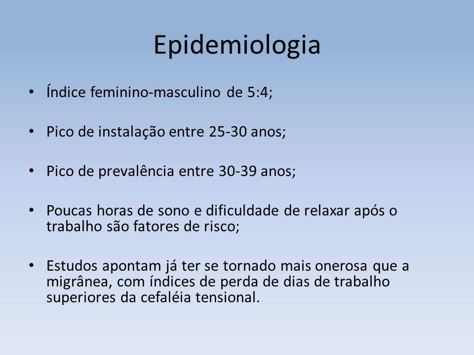 Epidemiologia Índice feminino-masculino de 5:4; Pico de instalação entre 25-30 anos; Pico de prevalência entre 30-39 anos; Poucas horas de sono e difi