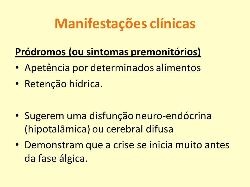 Manifestações clínicas Pródromos (ou sintomas premonitórios) Apetência por determinados alimentos Retenção hídrica. Sugerem uma disfunção neuro-endócr