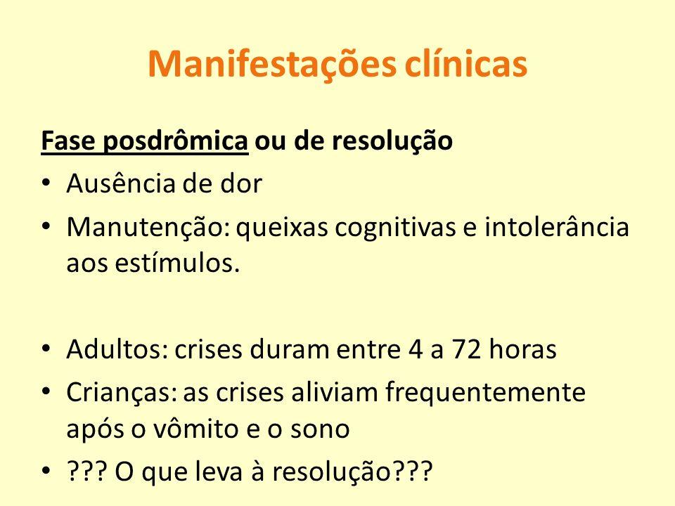 Manifestações clínicas Fase posdrômica ou de resolução Ausência de dor Manutenção: queixas cognitivas e intolerância aos estímulos. Adultos: crises du