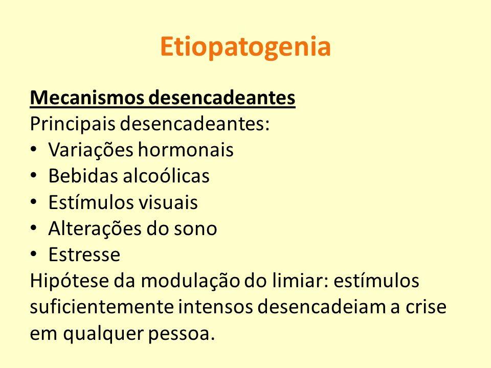 Etiopatogenia Mecanismos desencadeantes Principais desencadeantes: Variações hormonais Bebidas alcoólicas Estímulos visuais Alterações do sono Estress