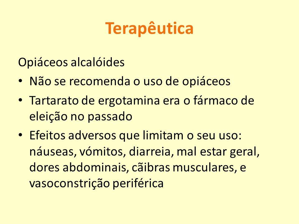 Terapêutica Opiáceos alcalóides Não se recomenda o uso de opiáceos Tartarato de ergotamina era o fármaco de eleição no passado Efeitos adversos que li