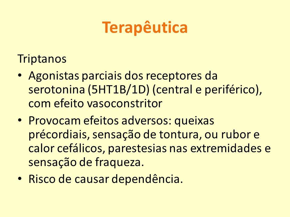 Terapêutica Triptanos Agonistas parciais dos receptores da serotonina (5HT1B/1D) (central e periférico), com efeito vasoconstritor Provocam efeitos ad
