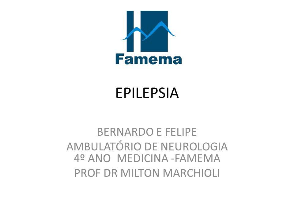 EPILEPSIA BERNARDO E FELIPE AMBULATÓRIO DE NEUROLOGIA 4º ANO MEDICINA -FAMEMA PROF DR MILTON MARCHIOLI