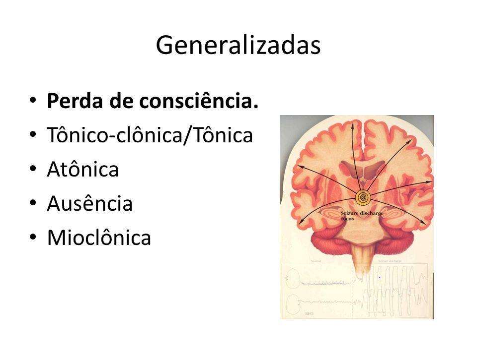 Generalizadas Perda de consciência. Tônico-clônica/Tônica Atônica Ausência Mioclônica