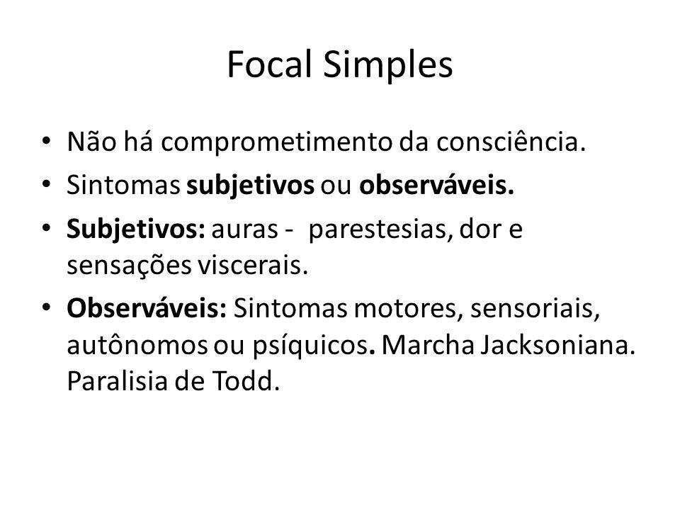Focal Simples Não há comprometimento da consciência. Sintomas subjetivos ou observáveis. Subjetivos: auras - parestesias, dor e sensações viscerais. O