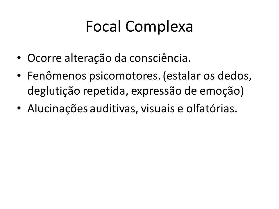 Focal Complexa Ocorre alteração da consciência. Fenômenos psicomotores. (estalar os dedos, deglutição repetida, expressão de emoção) Alucinações audit