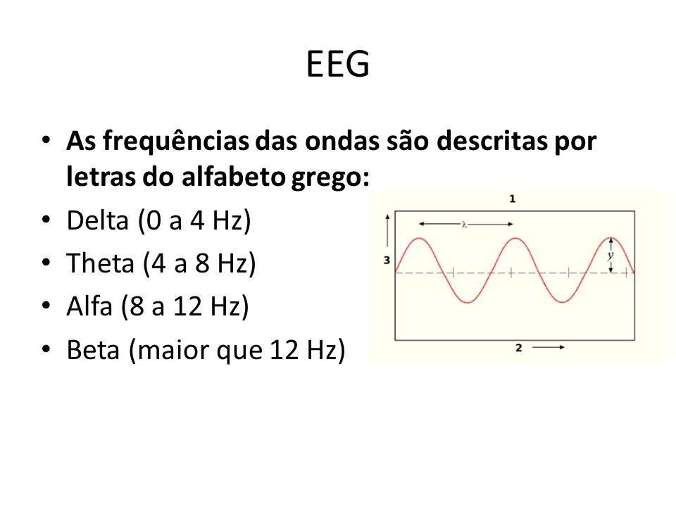 EEG As frequências das ondas são descritas por letras do alfabeto grego: Delta (0 a 4 Hz) Theta (4 a 8 Hz) Alfa (8 a 12 Hz) Beta (maior que 12 Hz)