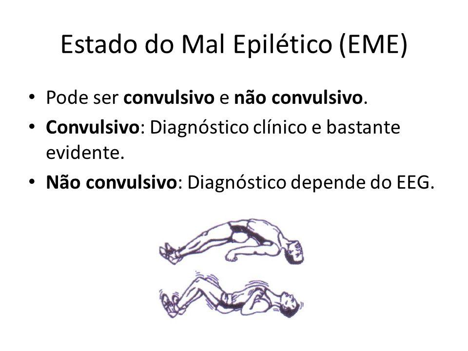 Estado do Mal Epilético (EME) Pode ser convulsivo e não convulsivo. Convulsivo: Diagnóstico clínico e bastante evidente. Não convulsivo: Diagnóstico d