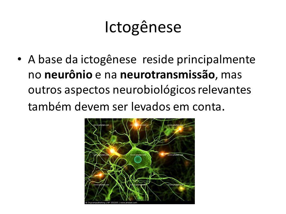 Ictogênese A base da ictogênese reside principalmente no neurônio e na neurotransmissão, mas outros aspectos neurobiológicos relevantes também devem s