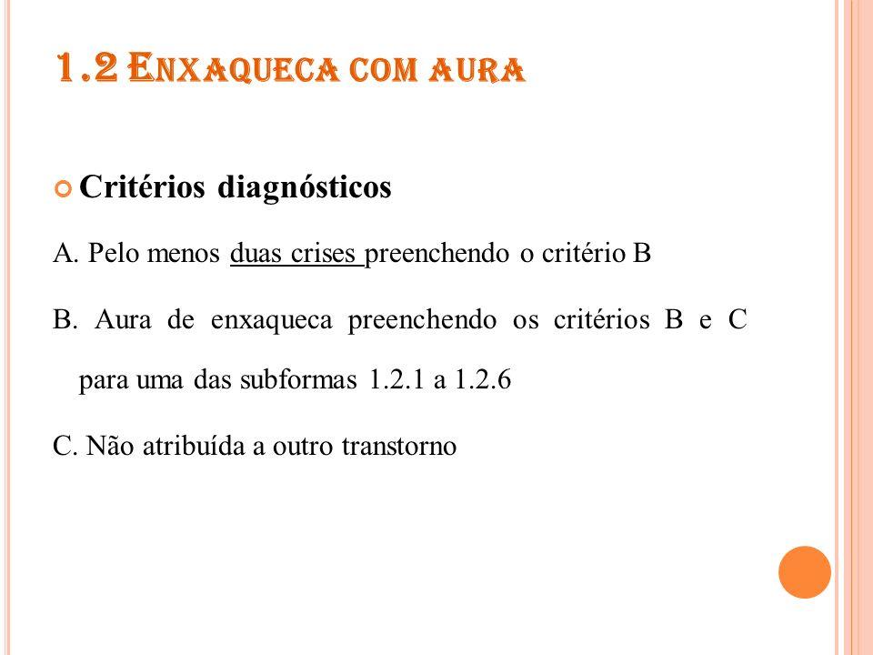 1.2.1 A URA TÍPICA COM CEFALÉIA TÍPICA ( DE ENXAQUECA ) Critérios diagnósticos A.
