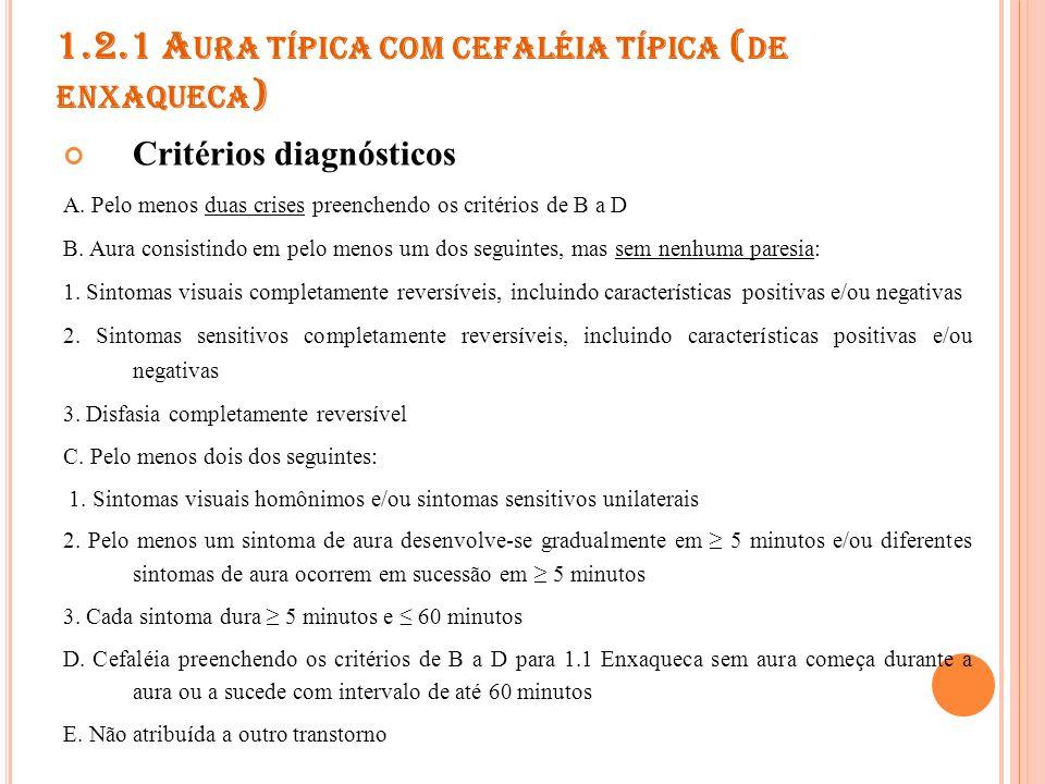 1.2.2 A URA TÍPICA COM CEFALÉIA ATÍPICA ( DE ENXAQUECA ) Critérios diagnósticos O mesmo que 1.2.1, exceto: D.