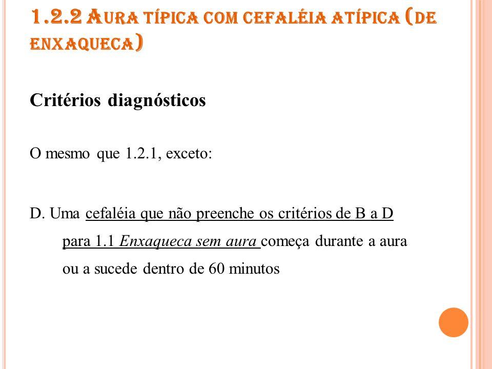 1.2.3 A URA TÍPICA SEM CEFALÉIA Critérios diagnósticos O mesmo que 1.2.1, exceto: D.
