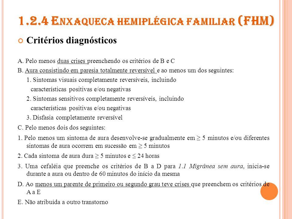 1.2.5 E NXAQUECA HEMIPLÉGICA ESPORÁDICA Critérios diagnósticos O mesmo que 1.2.4, exceto: D.