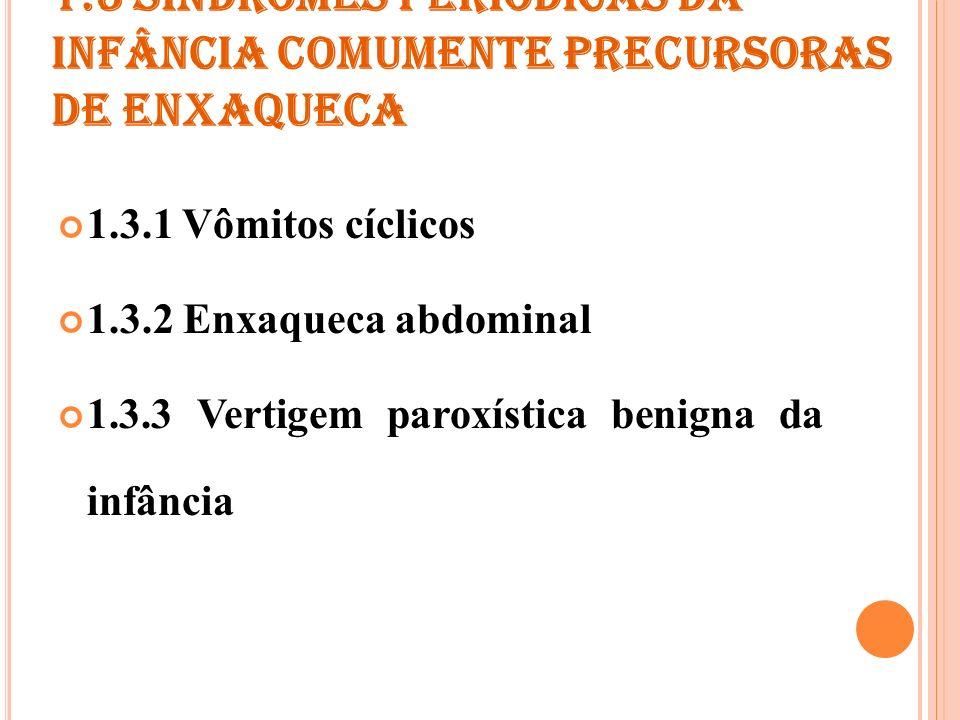 1.3.1 VÔMITOS CÍCLICOS Critérios de diagnóstico A.